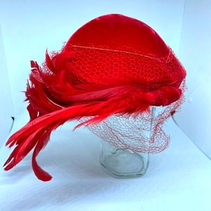 Vintage Red Feather Hat